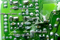 Closeup of the circuit board showing modification to the UHF receive portion of the TM-733