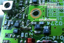 Closeup of the circuit board showing modification to the VHF receive portion of the TM-733