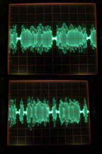 Oscillographs showing the holes punched in audio by the blanker.