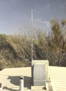 View from the roof showing the MedFER antenna mounted to the cooler.  Note that the roof itself is metal.