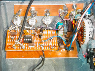 Close-up view of the 10 MHz distribution                     amplifier and status indicator circuitry