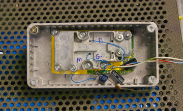 A                 close-up view of the amplifier module with the shield in                 place.