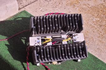 The 'heat sink' side of the paired Mocom 70 amplifiers