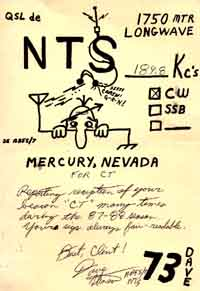 QSL from fellow LowFER NTS who heard CT from Nevada